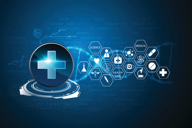 vector health care background hi tech sci fi design pattern